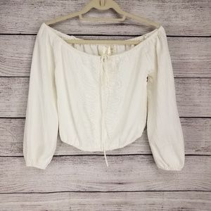 NEW JOA Off-The-Shoulder Top blouse Lace up front